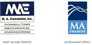 MA Engineers logo (before and after)