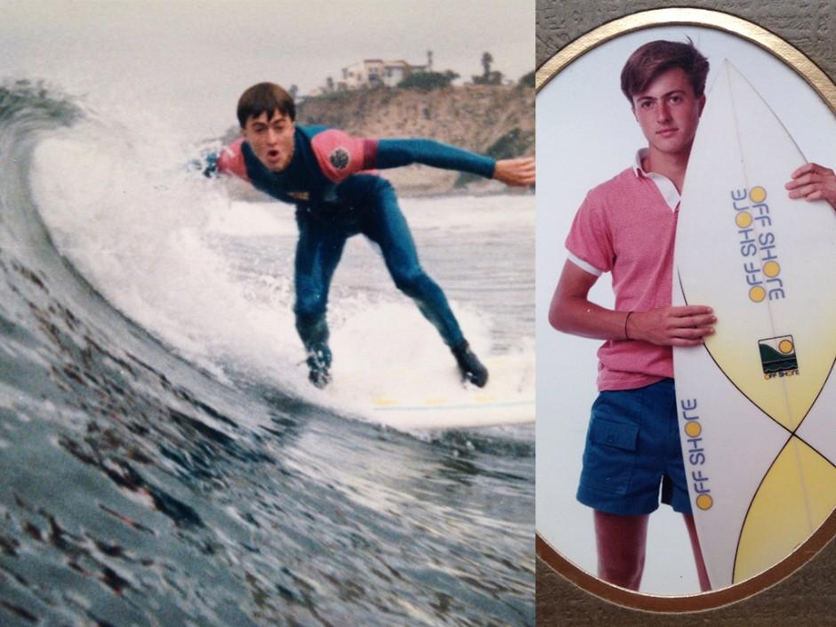 David Lecours surfs