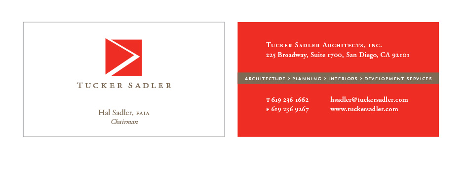 Tucker Sadler Architects business cards