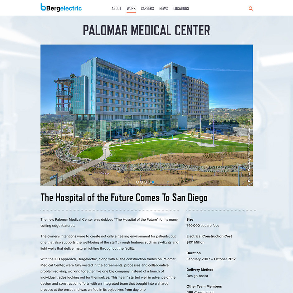 Bergelectric Palomar Health Center Page