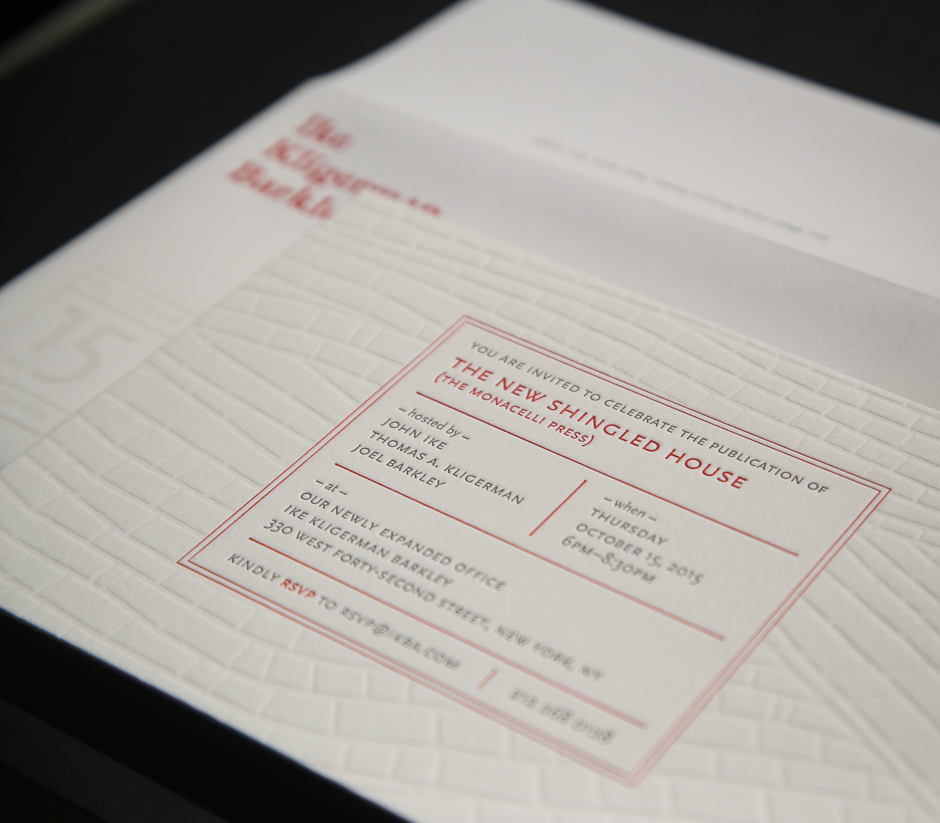 Letterpress invitation for Ike Kligerman Barkley