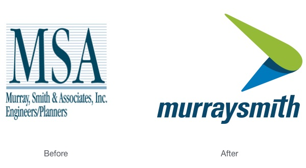 Murraysmith rebrand before and after logo