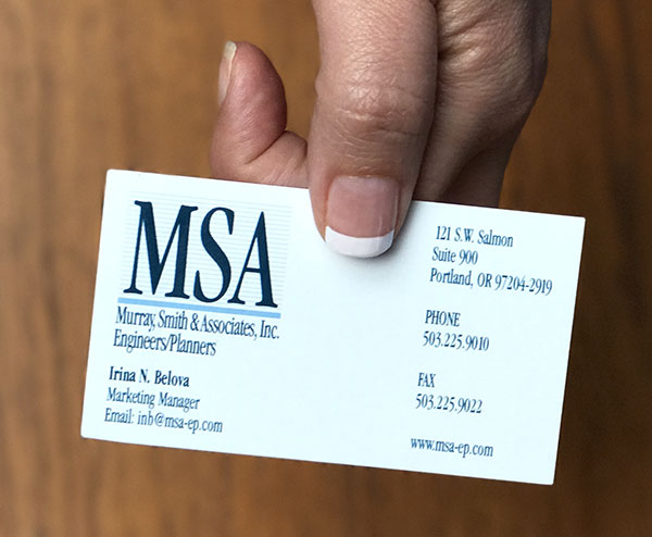 MSA business card before rebranding