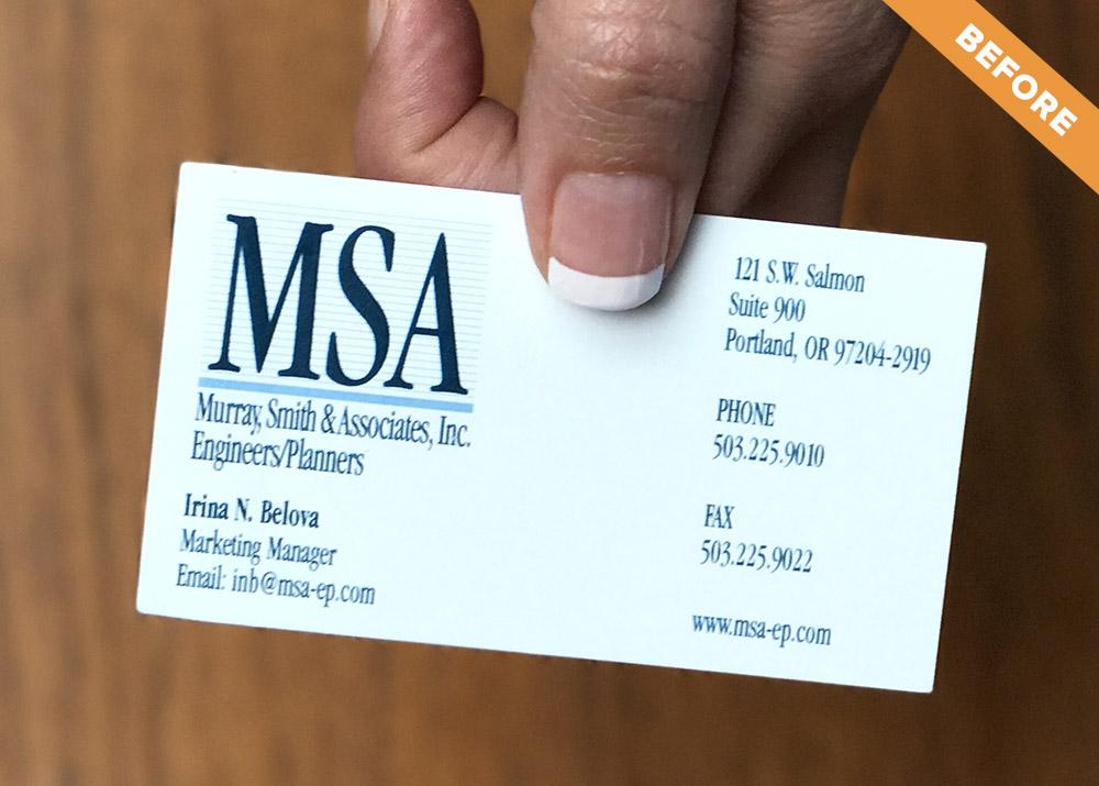 MSA business card (before rebranding)