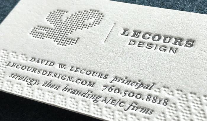 LecoursDesign letterpress business card