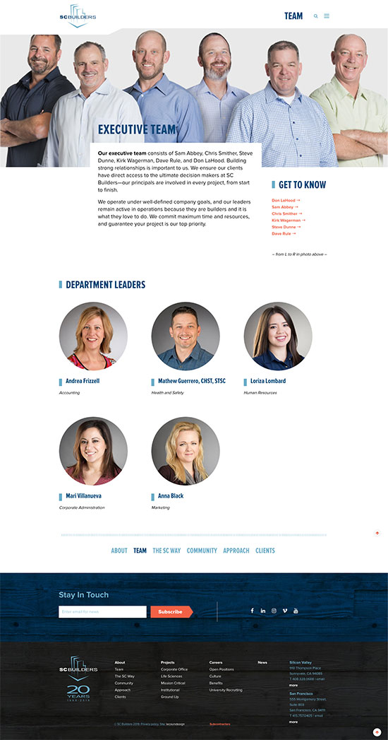 SC Builders Website Team Page