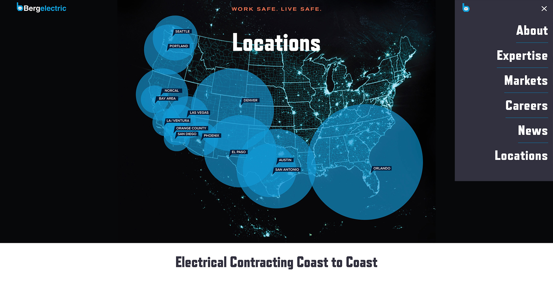 Bergelectric website Locations page